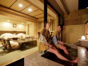 箱根湯本温泉 天成園:◆客室露天風呂を足湯として楽しむのもOK♪