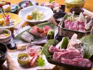 登別カルルス温泉 湯元オロフレ荘:全国的に有名な北海道のブランド牛「白老牛」特別リクエスト御膳でをお楽しみください。
