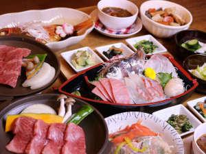 アクアペンション マリンヴィラ:*グレードアップコースお料理一例/金目鯛の煮付けが付くボリュームたっぷりのお料理。