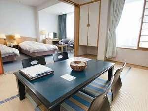 かんぽの宿 酒田:お部屋はゆったりくつろげる和洋室(和室6畳+ツイン)