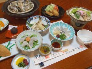 割烹旅館 観月荘:【ふぐ・牡蠣コース】秋~冬の季節限定。ダブルの海の幸でちょっと贅沢に