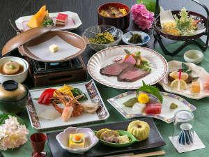 山鹿ニューグランドホテル:【夕食】どのお料理コースにしようか悩まれたら当館のスタンダードコースをオススメしております/例