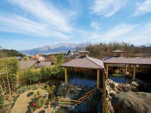 南阿蘇夢しずく温泉 ホテル夢しずく:【阿蘇の湯】阿蘇五岳を一望のロケーション。
