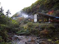 黄金色の巨石露天風呂 横谷温泉旅館の写真