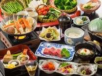 らこゆこッ♪彡和牛陶板とカニすき鍋季節のお野菜バイキング付☆季節の会席コース