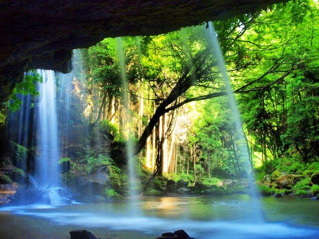 夏の鍋ヶ滝です。 滝の裏から撮影しています♪_鍋ヶ滝公園  ※当面の間平日のみの開園となります