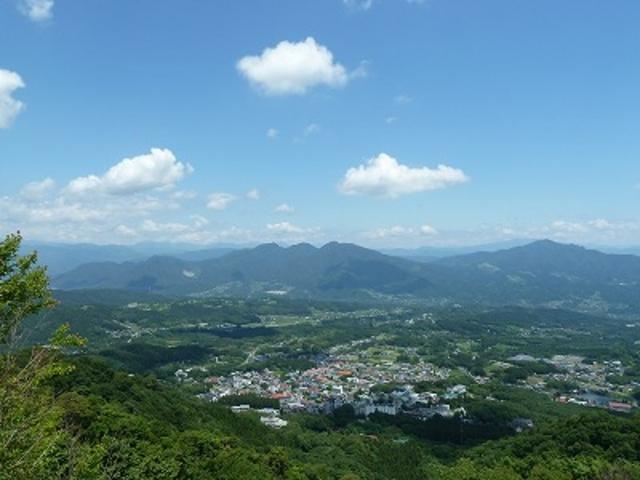 山頂から眺めた温泉街_伊香保ロープウェイ