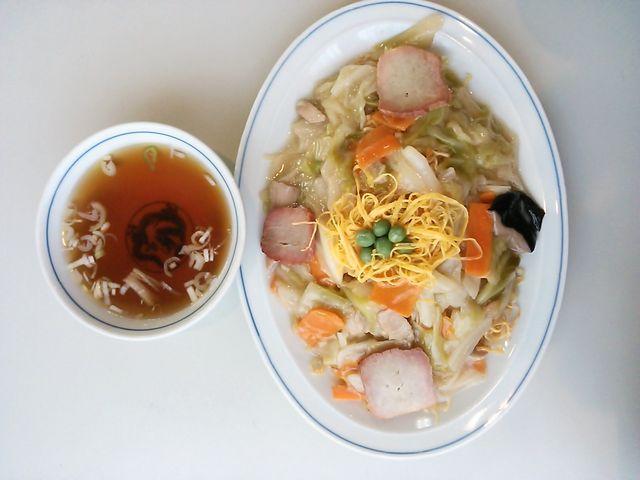 スープも付いてて美味しい焼きそば_日昌亭袋町本店