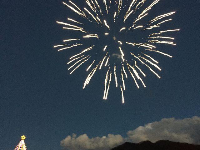 イルミネーション点灯式のときに花火があがりました。とてもきれいでした。_宮ヶ瀬湖
