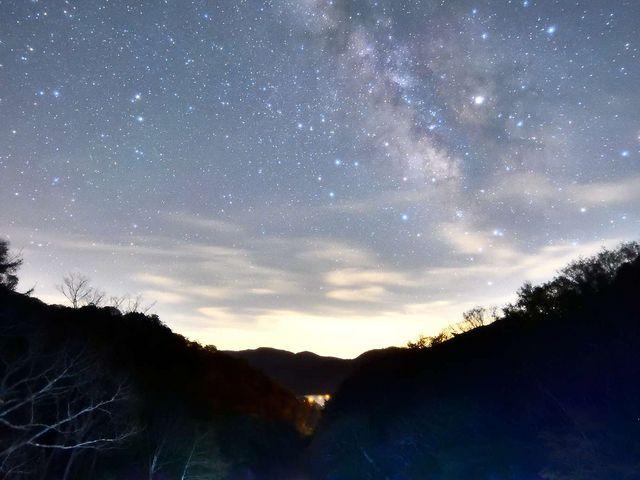 竜頭の滝に昇る天の川_竜頭ノ滝