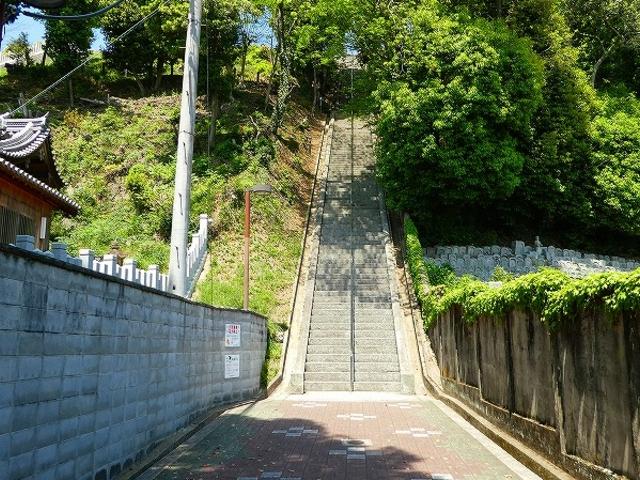 男山配水池公園・この階段を上ると絶景が!_男山配水池公園