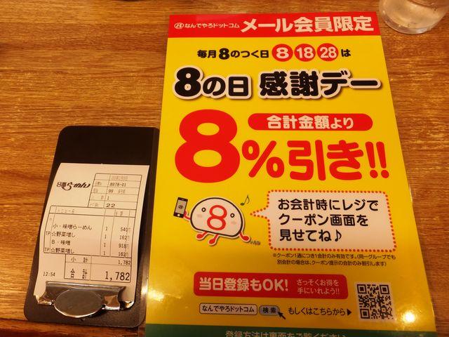 8の付く日は感謝デー。お代を8%値引きしてもらえます。_8番らーめん 小松店