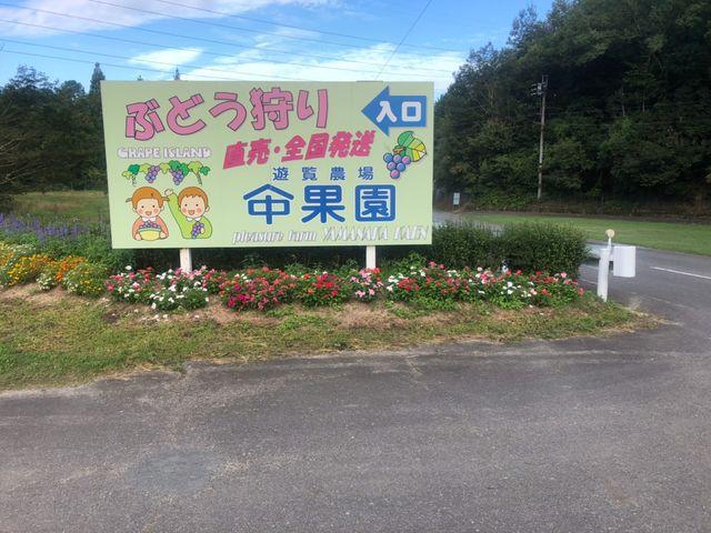 入口はこの看板が目印です。_遊覧農場 ヤマナカ果園