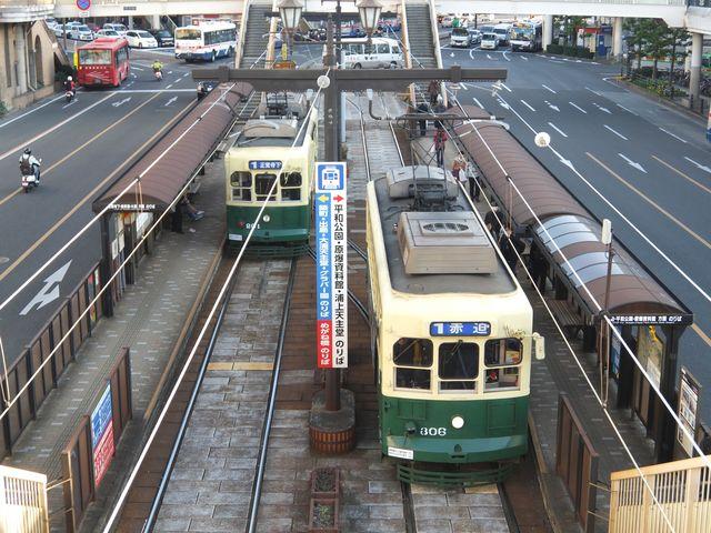 長崎駅前はJRから歩道橋で直結してます_長崎電気軌道(長崎の路面電車)