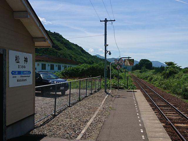 五能線「松神駅」のホームにて_五能線