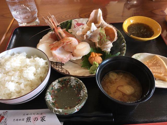 刺身定食、5種のお刺身はどれも美味でした!_熊の家