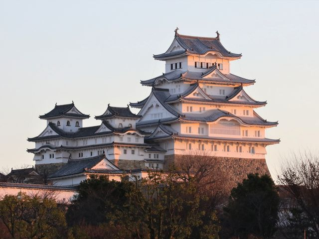 ピンク色の白い城_姫路城