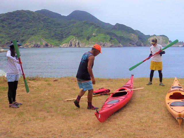 漕ぎ方の練習をしてから海に出ます♪_弓ヶ浜カヌースクール