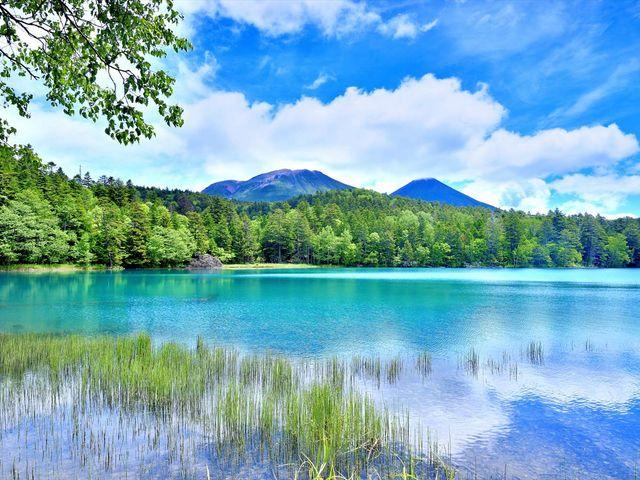 背景に雌阿寒岳・阿寒富士を望む、オンネトー湖。神秘的な色に魅了されます。_阿寒湖