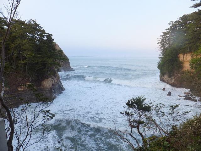 大観荘の露天風呂からの太平洋_五浦温泉