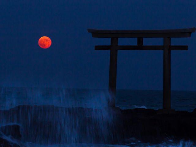 神磯とスーパーブラッドムーン 水平線付近では月が赤くなり「血の月」とも言われるそうです。_大洗海岸