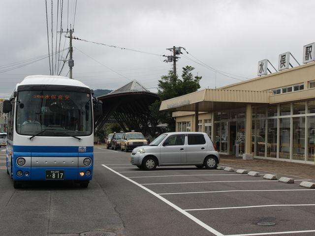 駅前からの九州産交バス_肥薩おれんじ鉄道水俣駅