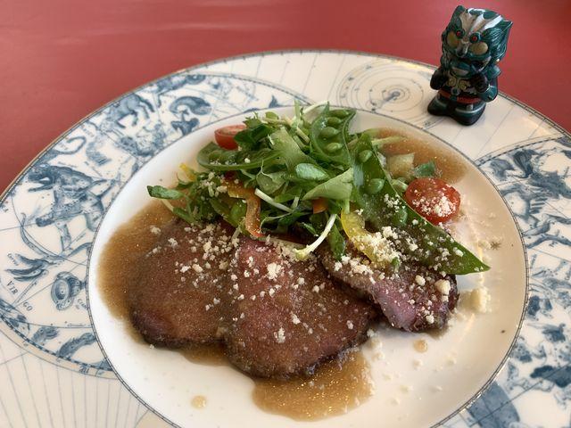 コースランチの前菜 ローストビーフのサラダ_国民宿舎レインボー桜島