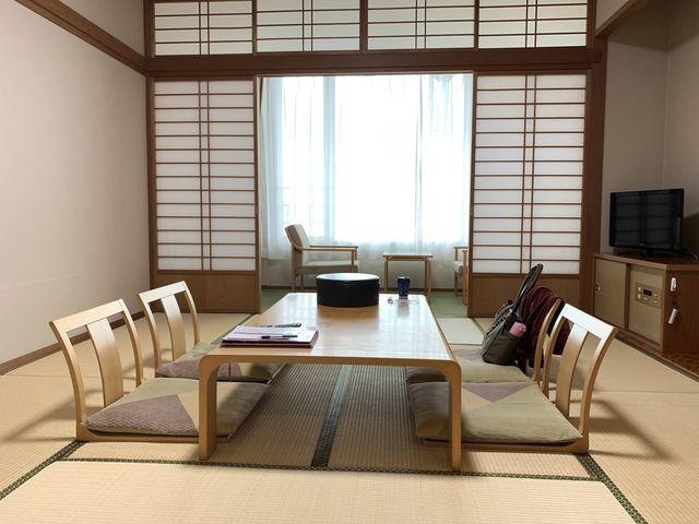 お一人様利用でしたが、こんな立派なお部屋も利用させてもらいました 窓からの眺めも良かったです_国民宿舎レインボー桜島
