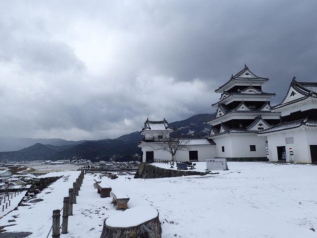 雪景色の大洲城_大洲城