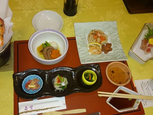 夕食の一部です。_しきぶ温泉湯楽里