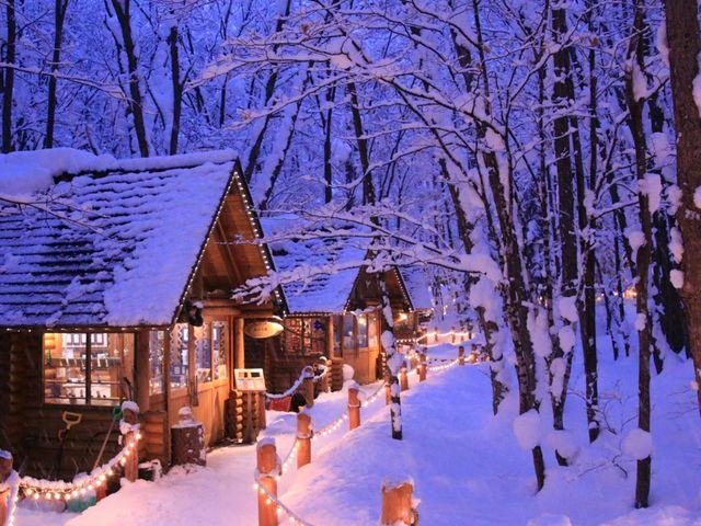 雪と灯りに包まれたニングルテラス_ショッピングロード「ニングルテラス」