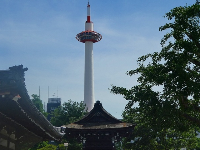 京都市・東本願寺から見える京都タワー_東本願寺(お東さん)