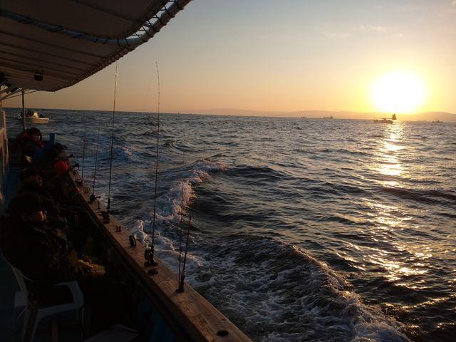御来光で壮大な海に朝日の昇る絶景のなかでタチウオを釣りました。初心者でも、小学生でも大丈夫でした!_春日丸