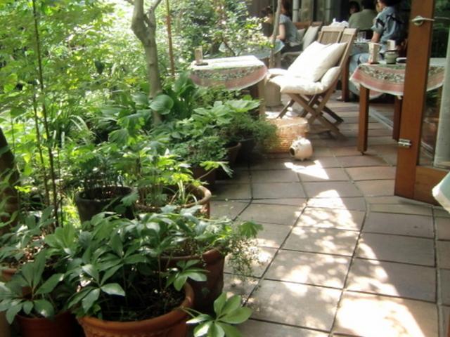 テラス風な庭に面した席。ブタの蚊取り線香が可愛い(笑)_サザ コーヒー