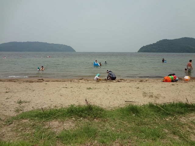湖岸のそばまで芝が敷かれてます_【2020年度営業中止】宮ヶ浜水泳場