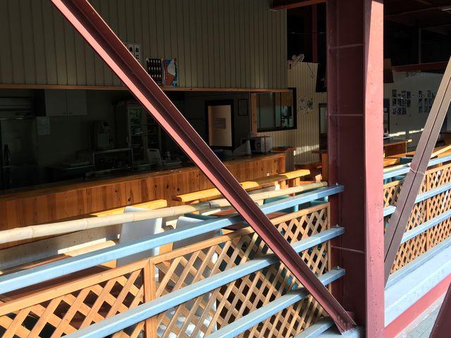 川にせり出した事務所は、道路に面した一階から下に降りると広~い空間が広がってました!_四国・吉野川ナイスラフティング