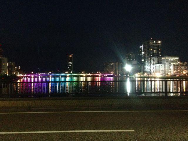 ライトアップが綺麗です_萬代橋