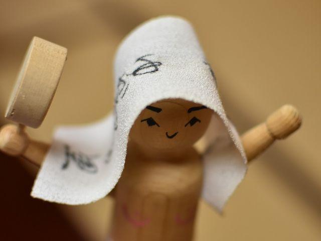 人形の下に紐があった、その紐をひくと湯かむりの様子を再現します_湯かむり温泉