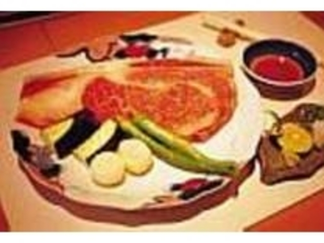 和風テイストの薬味でいただくステーキ_カフェ&鉄板レストラン 藤川