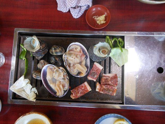 お肉と貝のコラボ!_萩の茶屋