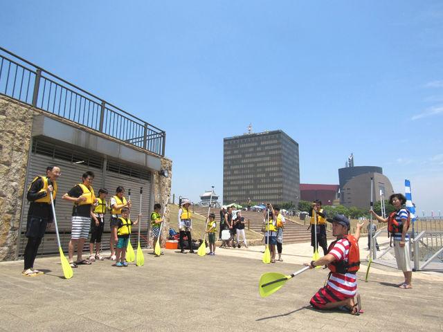 準備体操と漕ぎ方の練習_北九州アーバンサップ協会