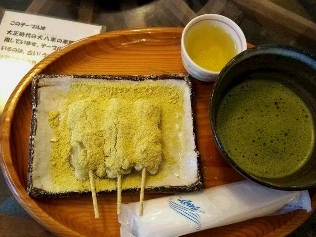 力餅&抹茶セット650円_三井寺力餅本家