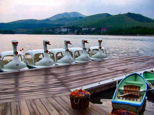 白樺湖のボート乗り場_白樺湖