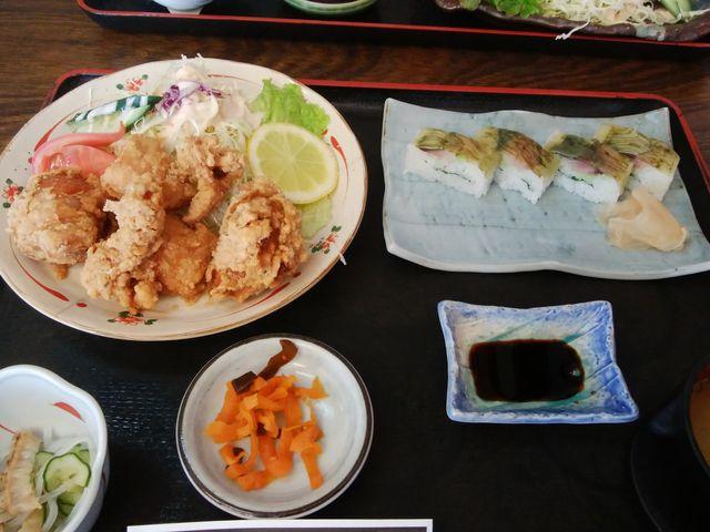 Aランチ唐揚げと鯖寿司定食_びびんや