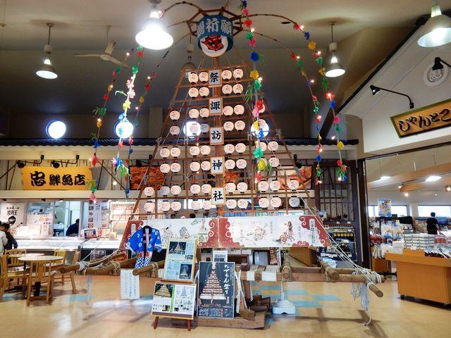 海の駅蜃気楼の「たてもん」展示_諏訪神社
