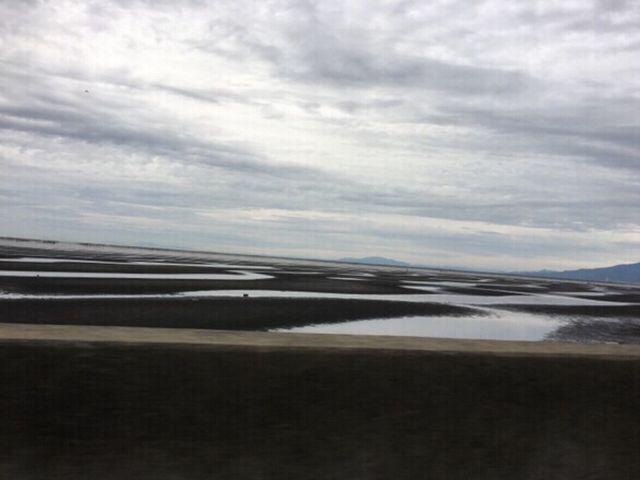 車窓から三日月型の砂紋が眺められました。_御輿来海岸