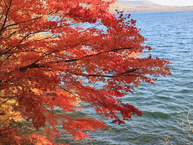 湖に映える紅葉_屈斜路湖