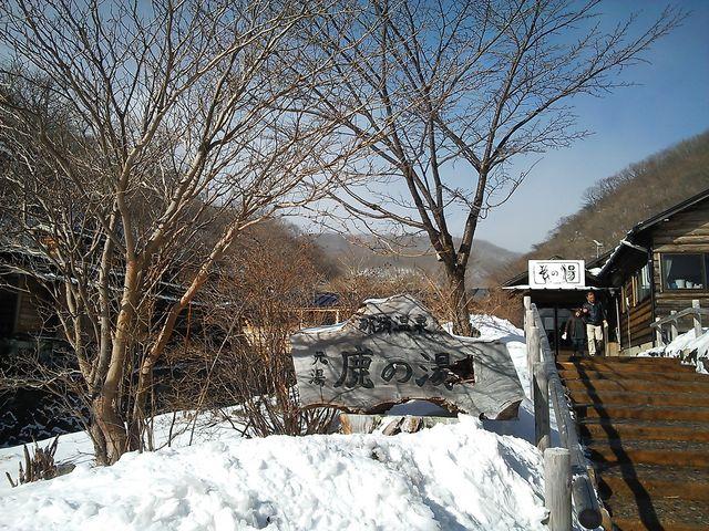 前日の雪が残っていましたが、ここまでは夏タイヤで上れました。_元湯 鹿の湯