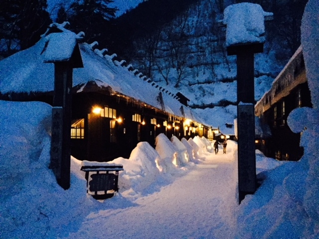 冬の夜の鶴の湯_乳頭温泉郷