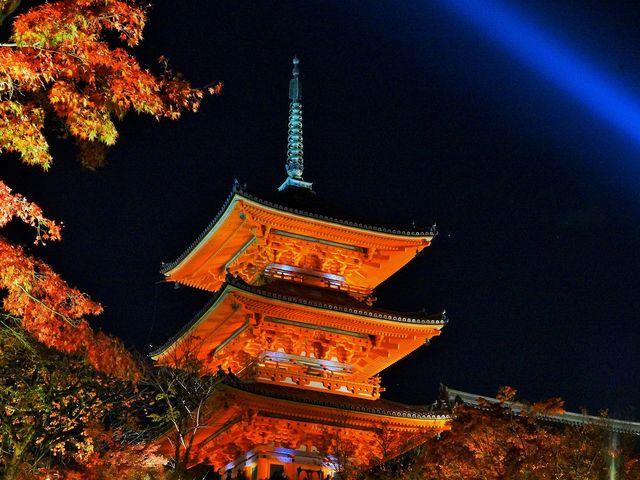 秋 夜の特別拝観30.11.17~12.2まで(午後5時30分から9時)三重の塔_清水寺